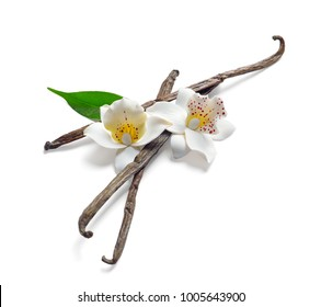 Vanilla sticks and flowers on white background