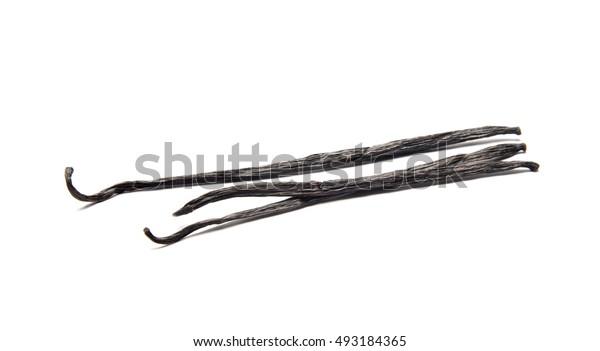 Vanilla sticks on white isolated background