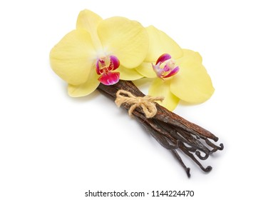 Vanilla sticks and orchid flowers