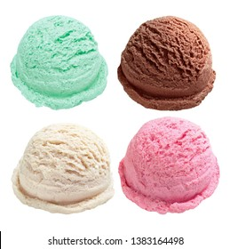 Vanilla, strawberry, chocolate, mint ice cream scoops from top view isolated on white background