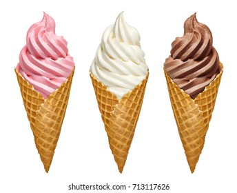Vanilla, strawberry and chocolate soft serve ice cream / frozen custard in cone isolated on white background