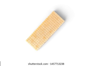 Vanilla wafer biscuit isolated on white background.