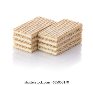 Vanilla Wafer Biscuits Isolated on White Background