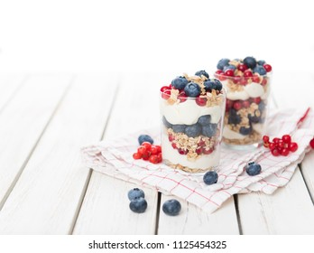 Vanilla Yoghurt Parfait Served with Blueberries and Red Currants