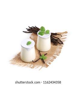 vanilla yogurt isolated on white background