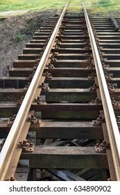 Vanishing perspective over rail bridge railway