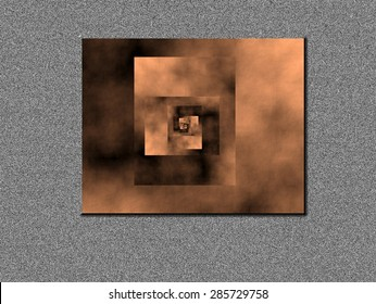 Vanishing point, idealization of an infinite outflow of copper colored spirals with dark and light smoke, on gray dots background, abstract expressionism abstract surrealism,