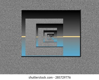 Vanishing point with spaces between different moments, on gray background, black, light blue and yellow horizontal lines, abstract surrealism, abstract expressionism,