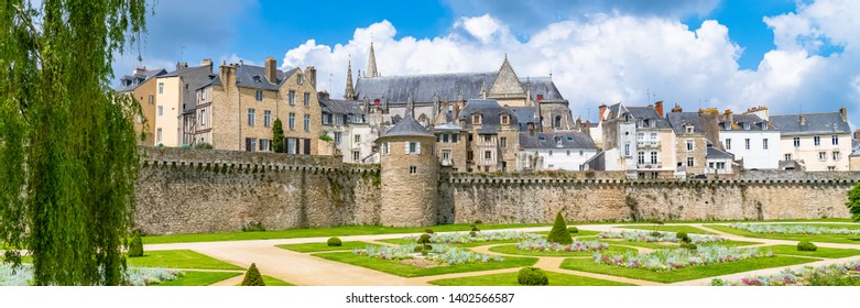 Vannes, medieval city in Brittany, view of the ramparts garden with flowerbed