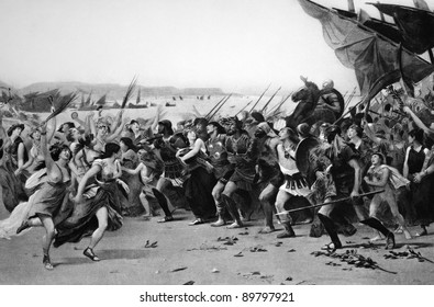 The Vanquishers of Salamis Celebrating. Engraved by Gebbie and published in Masterpieces of Art of the Paris Exhibition, USA, 1889.