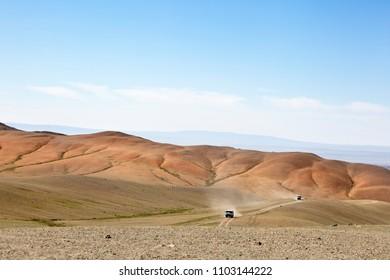 Vans on the Gobi Desert