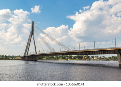 Vansu bridge (former Gorky bridge) over Daugava river in Riga in a beautiful summer day, Latvia