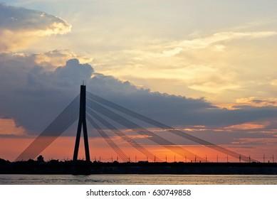 Vanšu (Vansu) Bridge in Riga, Latvia
