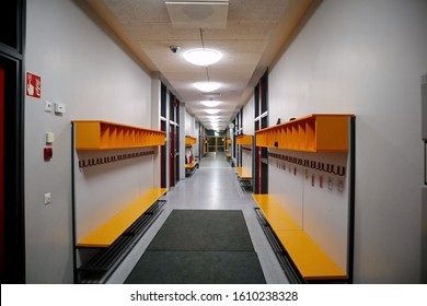Vantaa, Finland -01-05-2020: Empty elementary school corridor in the evening. Education from pre-primary to higher education is free of charge in Finland