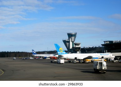 VANTAA, Finland - MARCH 19: The Helsinki-Vantaa Intl. Airport in Finland, seen here on March 19, 2009, is expanding by adding a new terminal. Departure hall numbers will be changed in fall 2009.