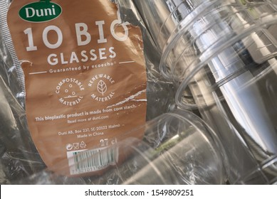 Vantaa, Uusimaa/Finland-November 4, 2019: bioplastic cups made of corn starch
