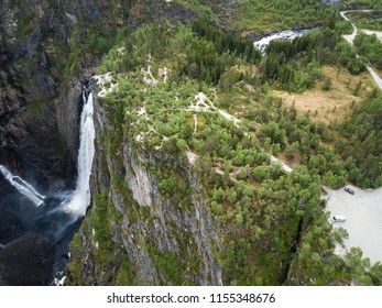 Vantage point and paths over a cliff at Voringfossen waterfall in Eidfjord, Norway