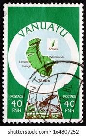 VANUATU - CIRCA 1980: a stamp printed in the Vanuatu shows Tanna Island and Prophet John Frum'??s Red Cross, circa 1980