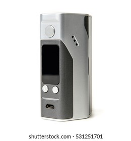 Vape. E-cigarette vaping box mod isolated. RDA. Rebuildable Dripping Atomizer. Vapor