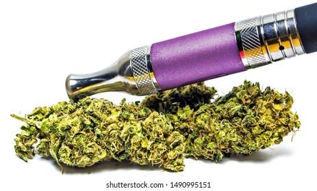 Vape Pen, with Marijuana and Cannabis Bud, on White Background.