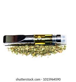 Vape Pen and Marijuana. Vaping Cannabis Oil with a Vaporizer