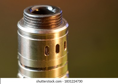 Vape RDA or e-cigarette for vaping with coils and cotton, rebuildable dripping atomizer or vaporizer.