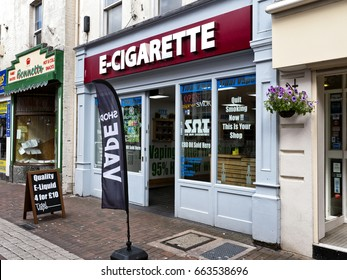 Vape store, Poole, Dorset, June 2017; small shop supplying vaping equipment or E-cigarettes