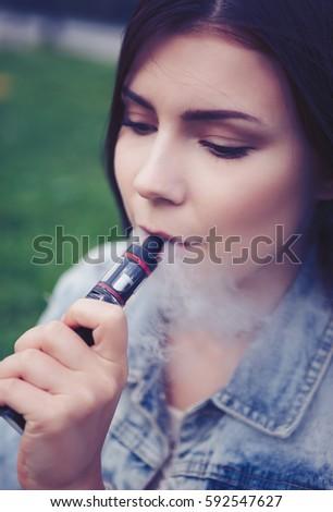 Vaper Young Brunette Girl Popular Ecig Vaping Stock Photo (Edit Now