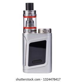Vaping device, electronic cigarette, nicotine free vape isolated on the white background. Vapor box mod tank with vaping liquid. Smoke addiction quit equipment