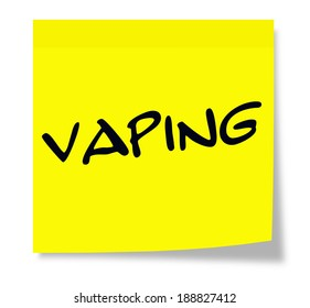 Vaping written on yellow sticky note making a great e-cigarette concept.