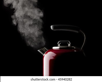 vapor coming from red kettle