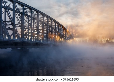 Vapor rises from river Oulujoki on an extremely cold January day.