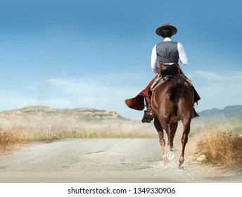 vaquero running on a horse in spanish preries