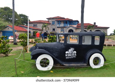 VARADERO, CUBA - JAN 18, 2016:  The restaurant Le Casa de Al which is an old house purportedly used for rum running purposes and linked to Al Capone.