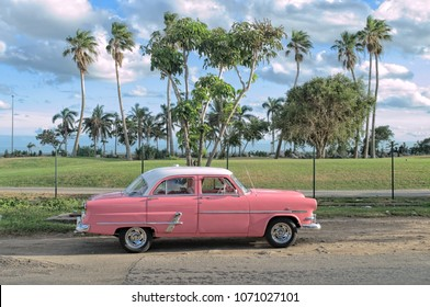 VARADERO, CUBA - January 5, 2018 - Vintage classic car parked by the road.