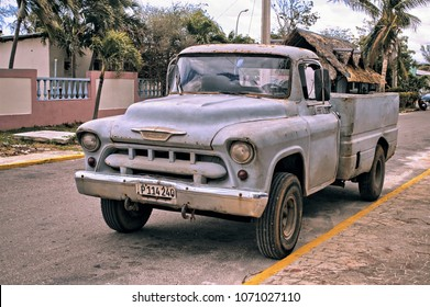 VARADERO, CUBA - January 5, 2018 - Vintage pickup truck parked on the street.