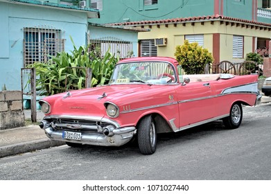 VARADERO, CUBA - January 5, 2018 - Vintage taxi car parked on the street.