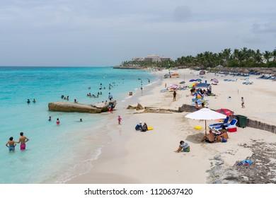 Varadero, Cuba - Jun 17 2018: Crowded Varadero beach in a sunny day.
