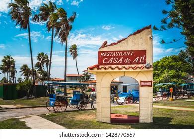 Varadero, Cuba - March 19 2019: The restaurant Le Casa de Al and house of Al Capone, Varadero, Hicacos Peninsula, Matanzas Province, Cuba, Central America