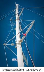 Varadero, Cuba - Mast of a catamaran displaying proudly the Cuban national flag