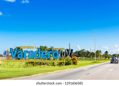 Varadero, Cuba - October 04, 2018: Welcome sign at the entrance to the city Varadero for tourists in Varadero Cuba - Serie Cuba Reportage