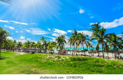 Varadero, Cuba, Paradisus Varadero resort, Sep, 2, 2018, beautiful, mesmerizing, gorgeous view of beach and tranquil ocean with people relaxing in background on sunny nice day