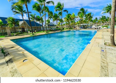 Varadero, Cuba, Paradisus Varadero resort, Sep. 2, 2018, amazing, inviting wide open view of outdoor swimming pool with turquoise water near the beach restaurant  in tropical garden on  sunny nice day
