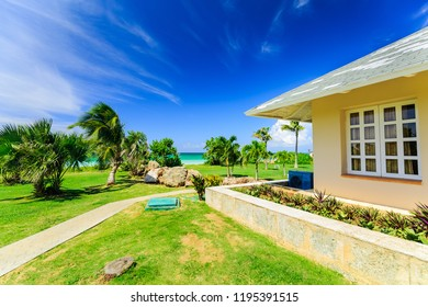 Varadero, Cuba, Paradisus Varadero resort,  Sep. 5, 2018, amazing, inviting beautiful natural landscape view of villa house in tropical garden right near the beach and tranquil turquoise tender ocean