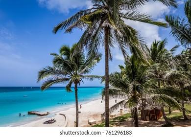 Varadero, Cuba - September 06, 2016: Caribbean beach  scenery in Varadero Cuba - Serie Cuba Reportage