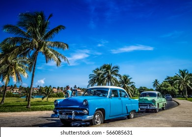 Varadero, Cuba - September 11, 2016: HDR - American Chevrolet classic cars in series parked near the beach in Varadero Cuba - Serie Cuba Reportage