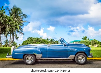 Varadero, Cuba - September 17, 2016: HDR - American blue green Chevrolet convertible classic car parked in in Varadero Cuba - Serie Cuba Reportage