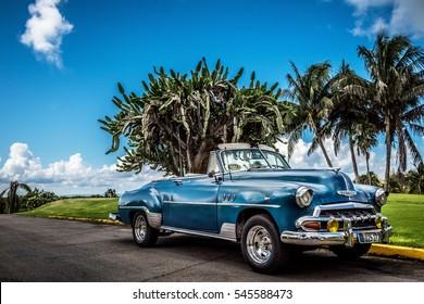 Varadero, Cuba - September 17, 2016: HDR American blue Chevrolet Cabriolet classic car in Varadero Cuba - Serie Cuba 2016 Reportage
