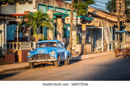 Varadero, Cuba - September 17, 2016: HDR - American blue Chrysler classic car parked on the street in Varadero Cuba - Serie Cuba Reportage