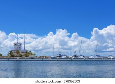 Varadero, Cuba - September 17, 2016: New marina harbor with boat for Tourists in Varadero Cuba - Serie Cuba Reportage